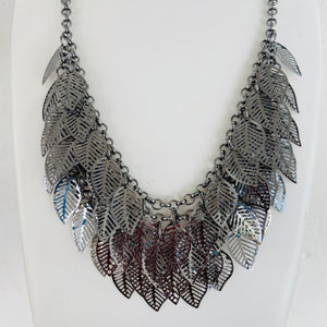 Black metal necklace NKC594
