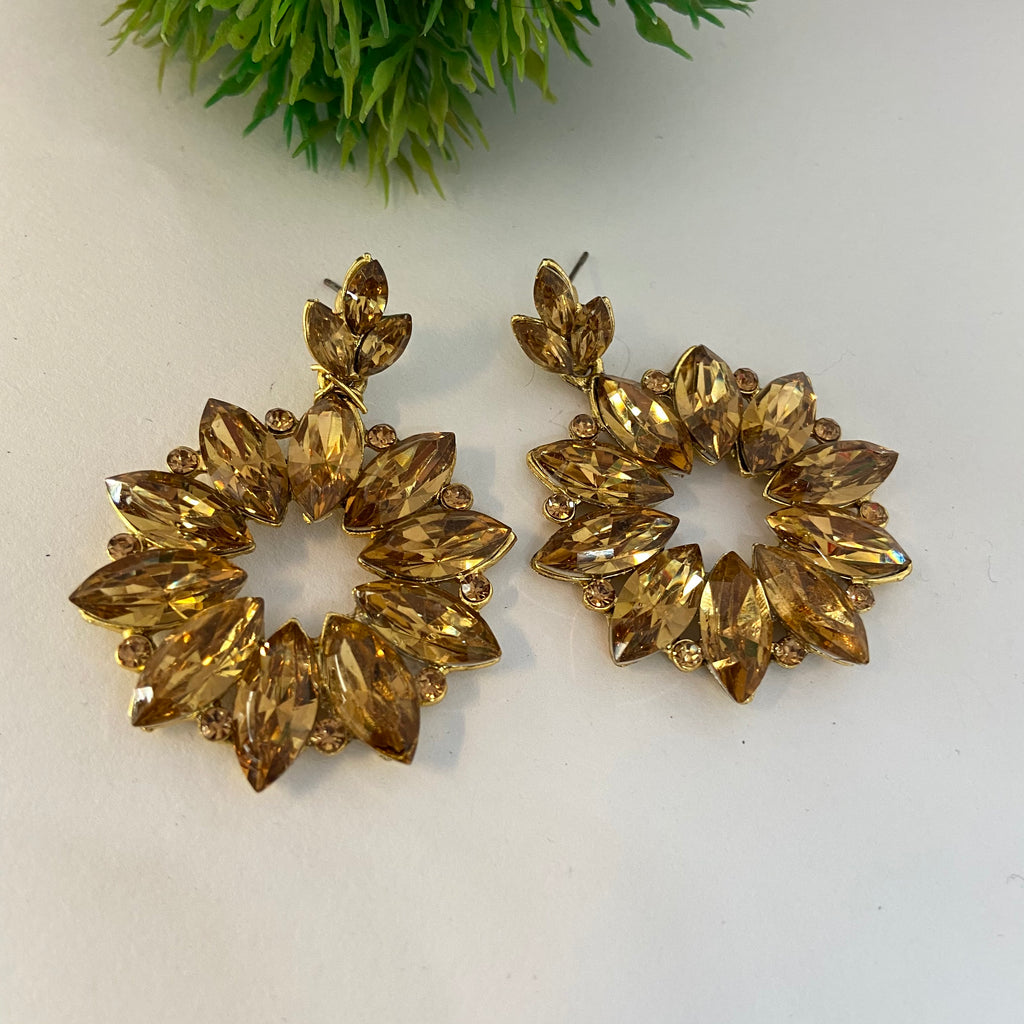 Golden Floral Earrings ES952