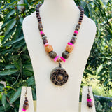 Wooden beads necklace NKC624