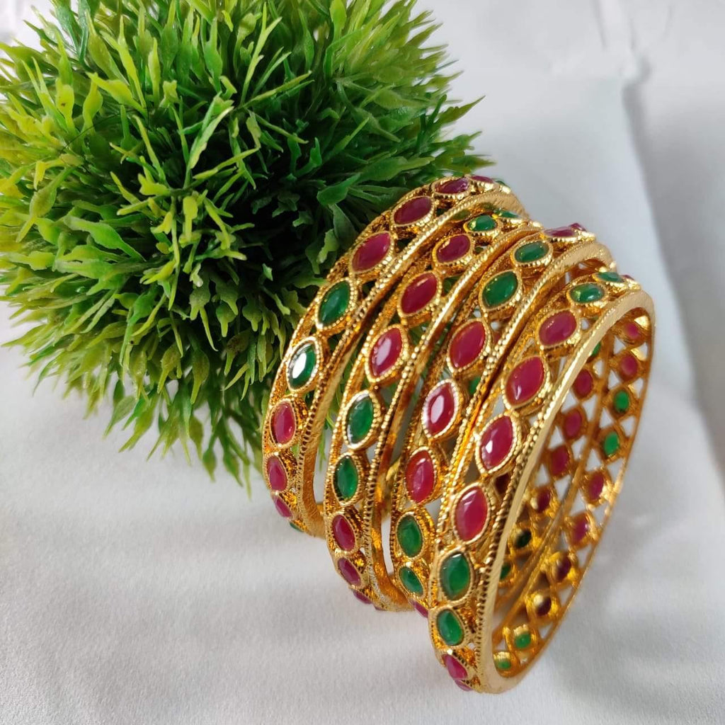 Multiccolored Stone Studded Traditional Bangles B44 | Sunu's Fashions