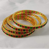 Red and Green Stones Studded Bangles B46 | Sunu's Fashions