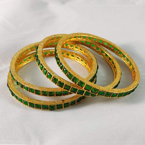 Green Stone Studded Traditional Bangles B47 | Sunu's Fashions