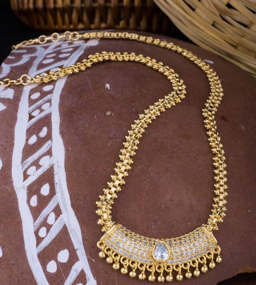 Micro Polish Chain With Pendant NKC232 | Sunu's Fashions