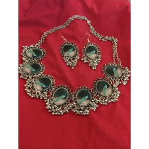 Designed Silver Necklace Set NKC180 | Sunu's Fashions