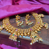 Traditional Antique Golden Necklace  NKC315 | Sunu's Fashions