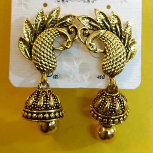 Golden peacock earrings ES627 | Sunu's Fashions
