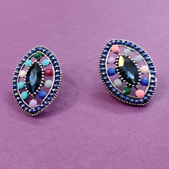 Blue centered Multicolored Oval Studs ES733 | Sunu's Fashions