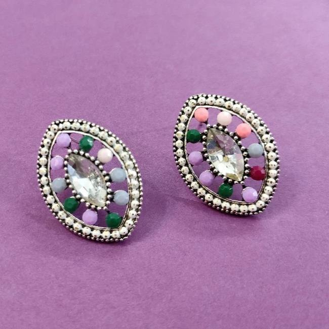 White centerd Multicolored Oval Stud ES731 | Sunu's Fashions