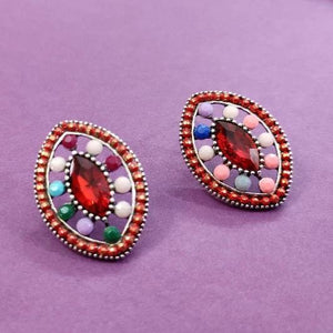 Red centered Multi colored oval stud ES730 | Sunu's Fashions
