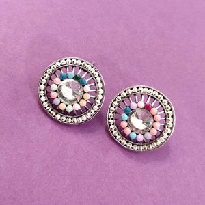 Multicolored Round Studs ES662 | Sunu's Fashions