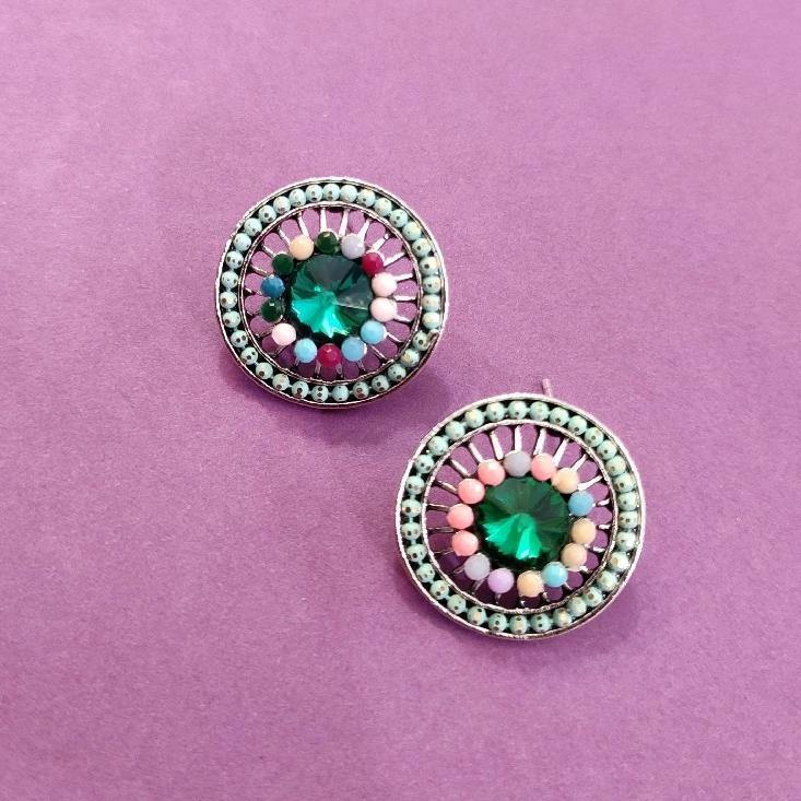 Multicolored Round Studs ES663 | Sunu's Fashions