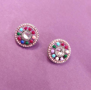 Multicolored Round Studs ES664 | Sunu's Fashions