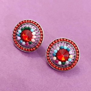 Multicolored Round Studs ES665 | Sunu's Fashions
