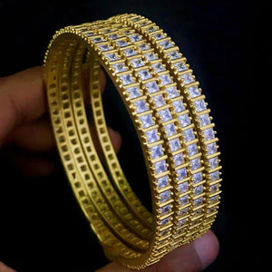 White AD Stone Bangle B14 | Sunu's Fashions