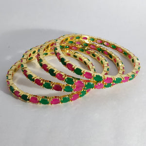Green And Pink AD Stone Bangles B21 | Sunu's Fashions