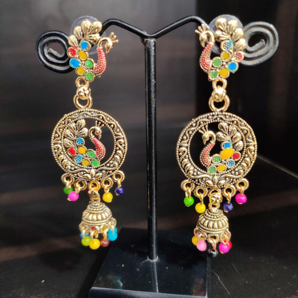 Multicolored Beads Enamel Jhumkas ES742 | Sunu's Fashions