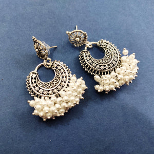 Silver Boho Drops With White Loreals ES734 | Sunu's Fashions