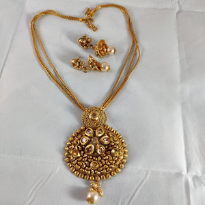 Antique Gold Pendant Chain  NKC265 | Sunu's Fashions