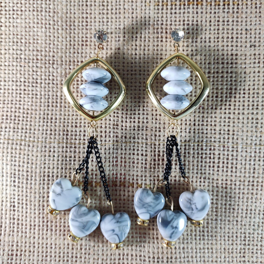 Marble White Glass Beaded Long Danglers ES765 | Sunu's Fashions