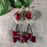 Wine Red Glass Beaded Long Danglers ES763 | Sunu's Fashions