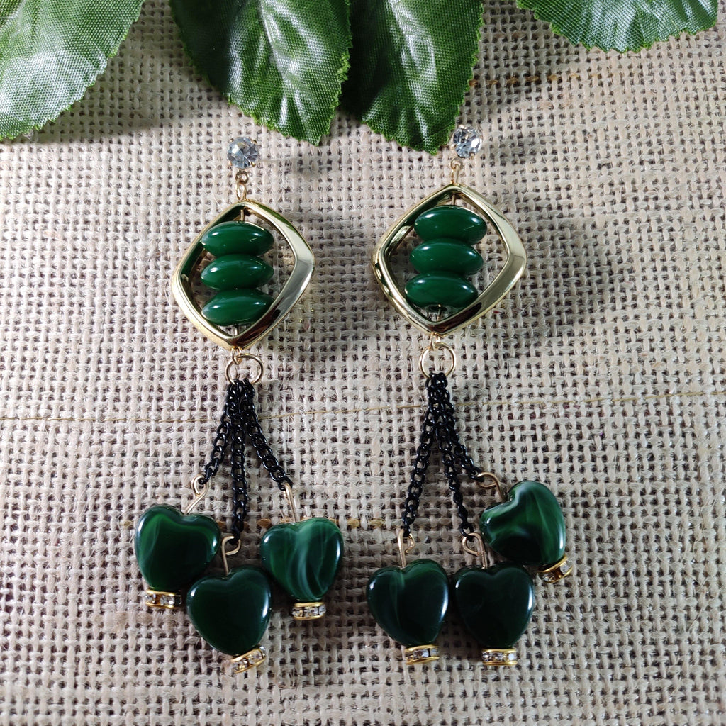 Green Beaded Long Danglers ES761 | Sunu's Fashions