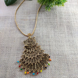 Multilayered Peacock Pendant Chain NKC291 | Sunu's Fashions