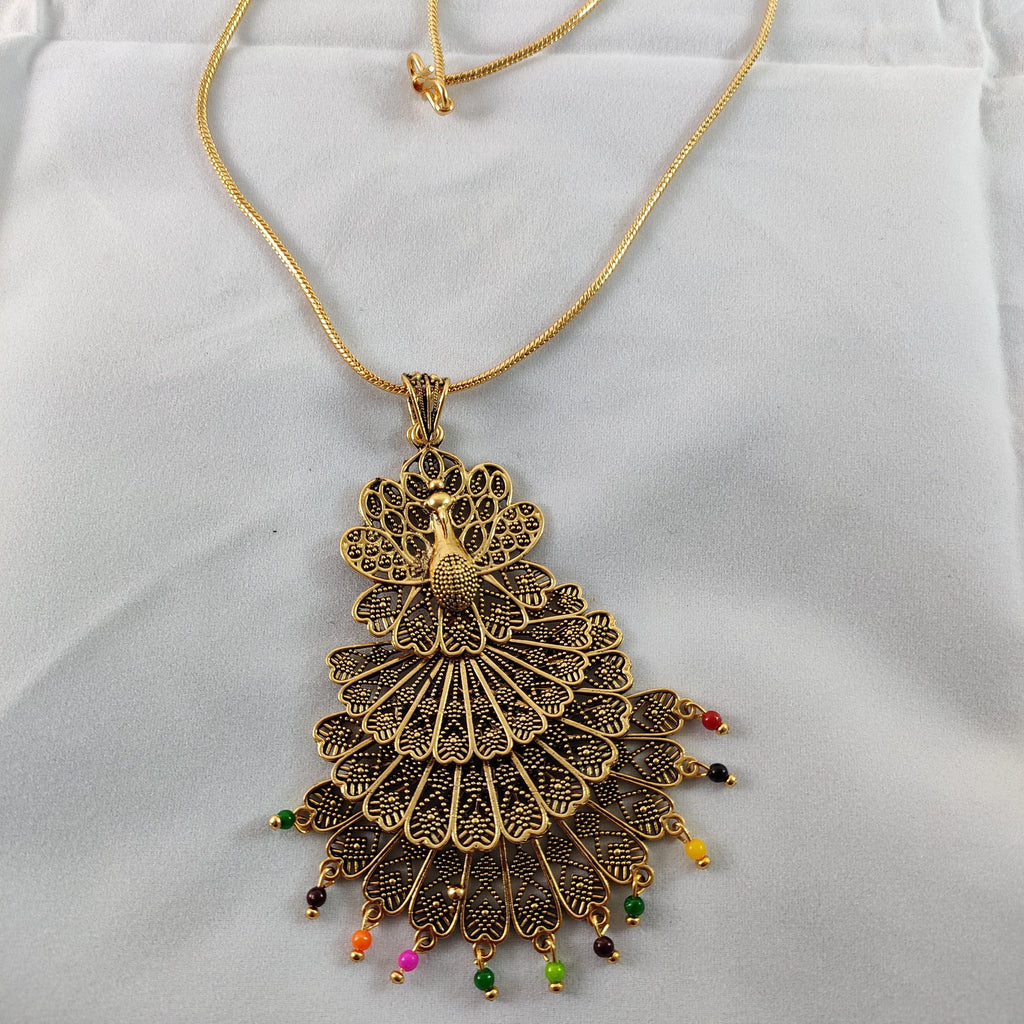 Multilayered Peacock Pendant Chain NKC268 | Sunu's Fashions