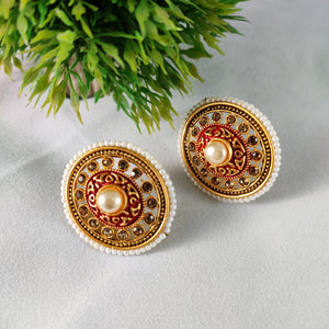 Large Pearl Stud Earrings - Red ES774 | Sunu's Fashions