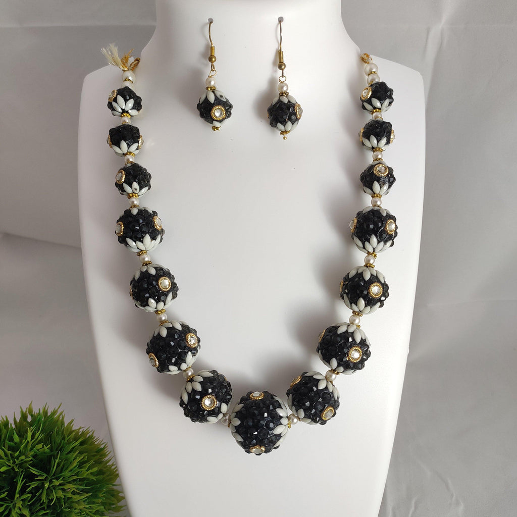 Black Floral Beaded Necklace NKC289 | Sunu's Fashions