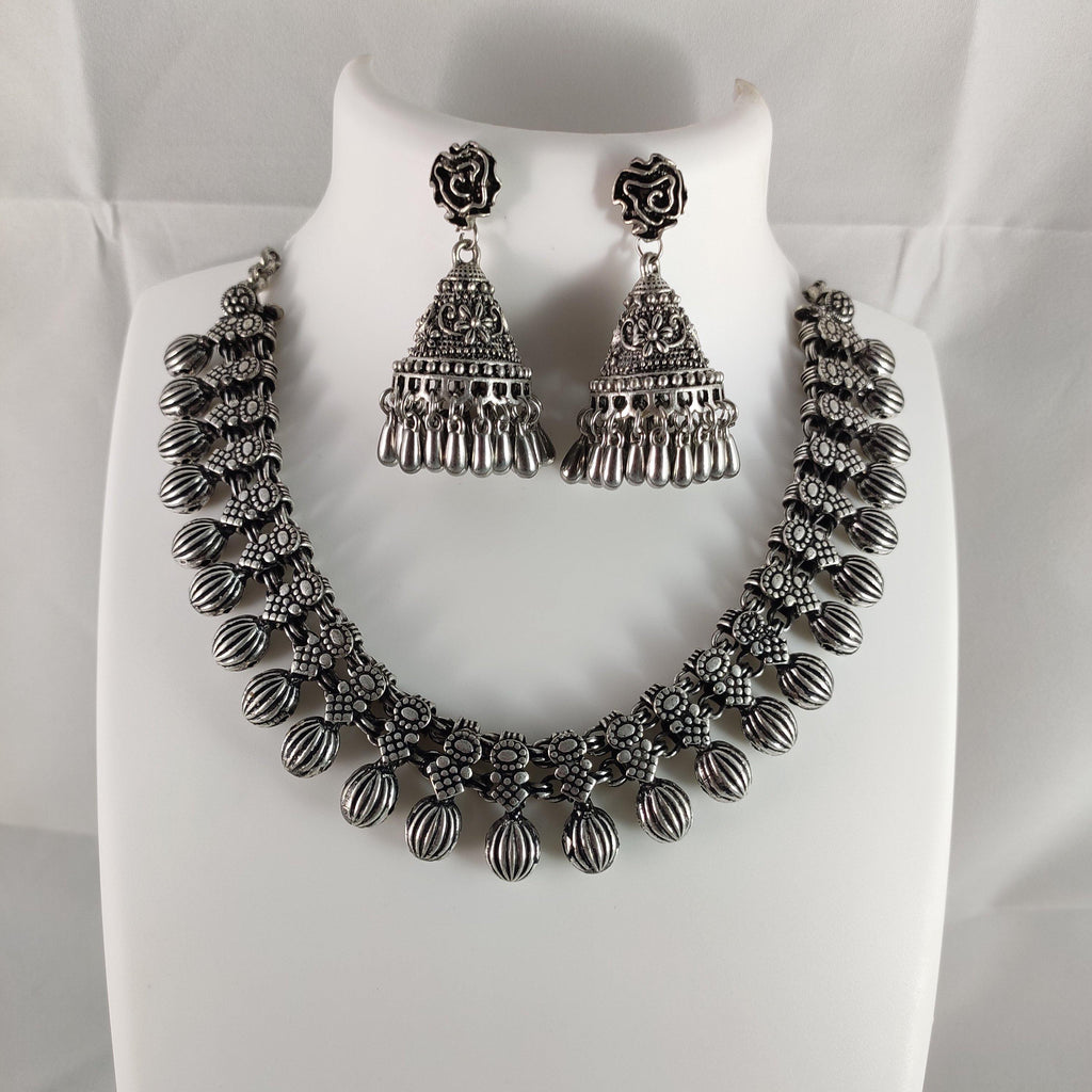 Oxidised Silver Statement Necklace NKC283 | Sunu's Fashions