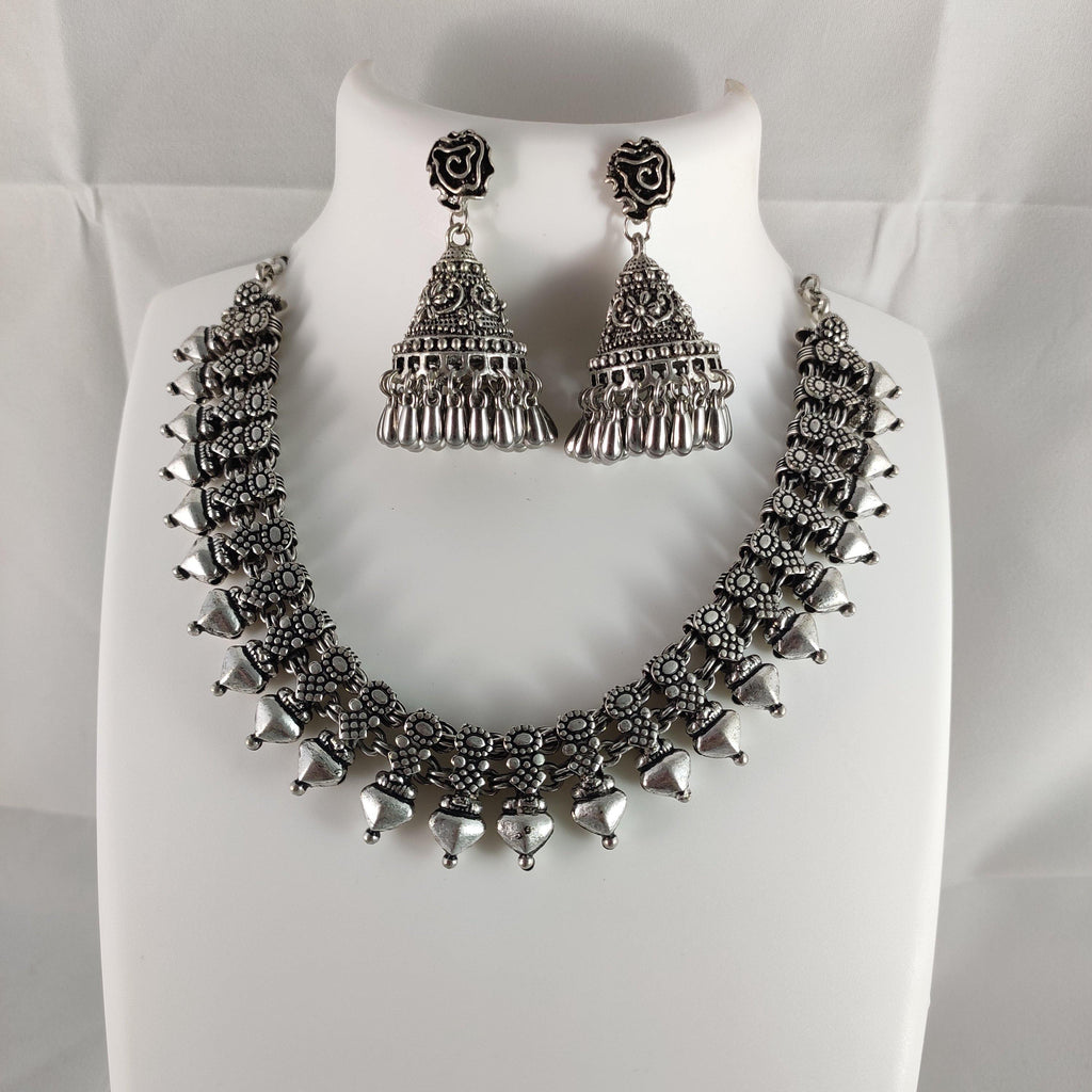Oxidised Silver Statement Necklace NKC282 | Sunu's Fashions