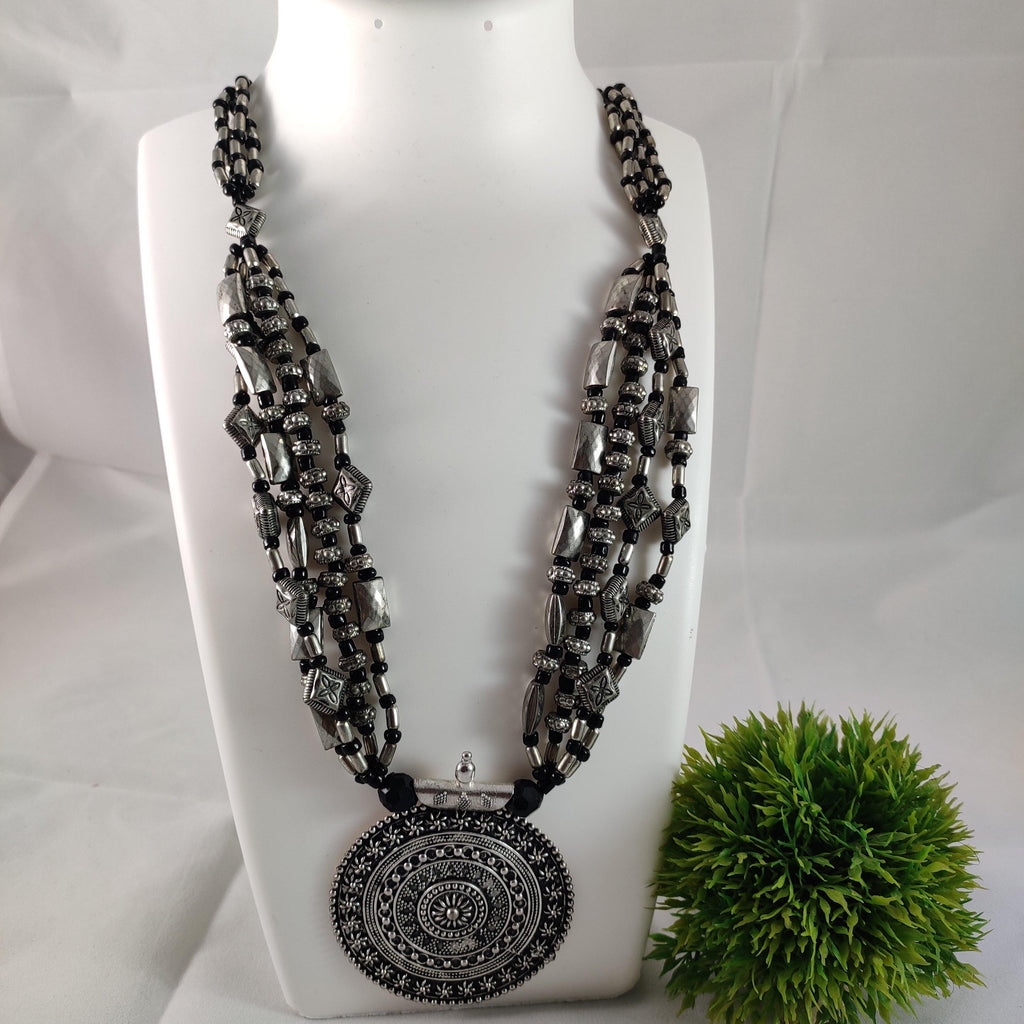 Oxidised Silver Chunky Necklace NKC299 | Sunu's Fashions