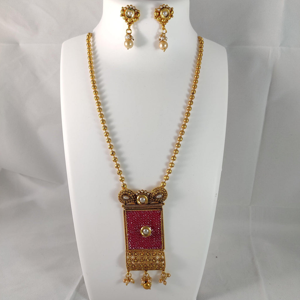 Pink And Golden Square Pendant Chain  NKC298 | Sunu's Fashions