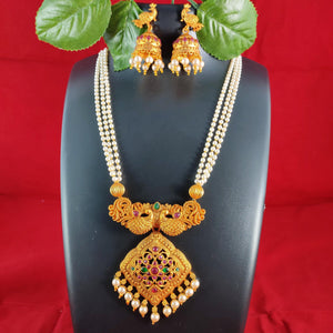 Antique Peacock Pendant Beaded Necklace NKC308 | Sunu's Fashions