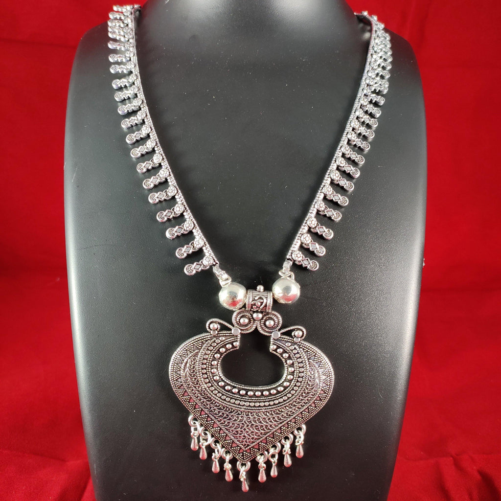 Oxidised Silver Necklace With Tribal Pendant NKC304 | Sunu's Fashions