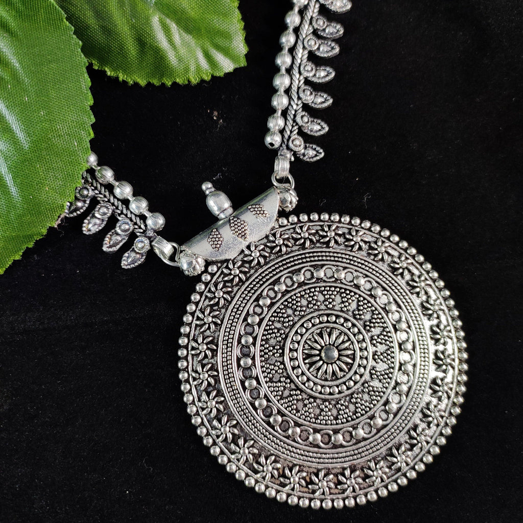 Oxidised Silver Necklace with Round Tribal Pendant NKC303 | Sunu's Fashions
