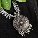 Oxidised Silver Necklace with Tribal Pendant NKC302 | Sunu's Fashions