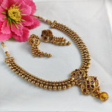 Golden Beaded Antique Necklace NKC301 | Sunu's Fashions