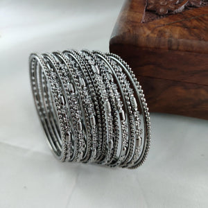 Oxidised Black Metallic Bangles B57 | Sunu's Fashions