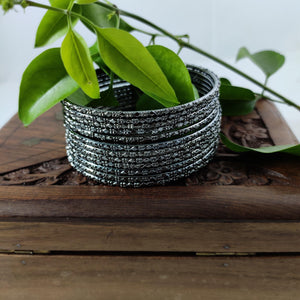 Oxidised Black Metallic Bangles B58 | Sunu's Fashions