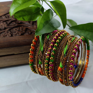 Multicolored Silk Thread Bangle Set B49 | Sunu's Fashions