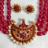 Ruby Beaded Traditional Kemp Stone Necklace NKC311 | Sunu's Fashions