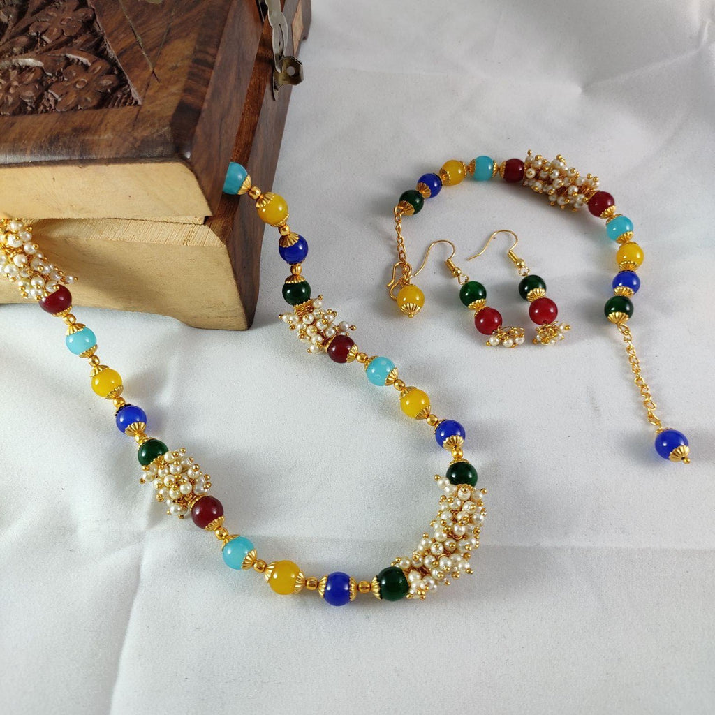 Multicolored Beads Necklace Set NKC320 | Sunu's Fashions