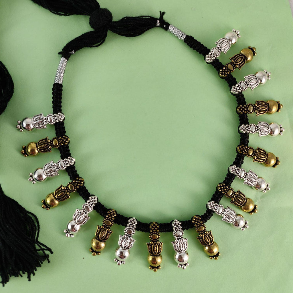 Black Threaded Oxidised Gold And Silver Necklace NKC319 | Sunu's Fashions