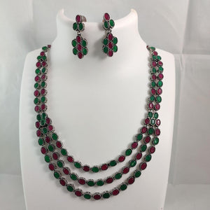 Multi Stone Studded Layered Necklace Set NKC338 | Sunu's Fashions