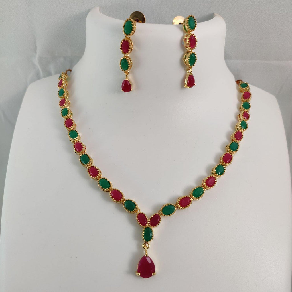 Elegant Multicolored AD Stone Necklace NKC336 | Sunu's Fashions