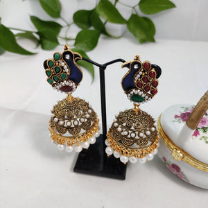 Intricate Peacock In Beaded Jhumkas ES799 | Sunu's Fashions