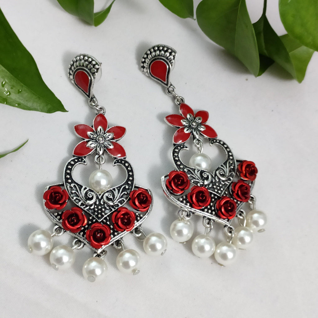 Red Floral Oxidised Danglers ES796 | Sunu's Fashions