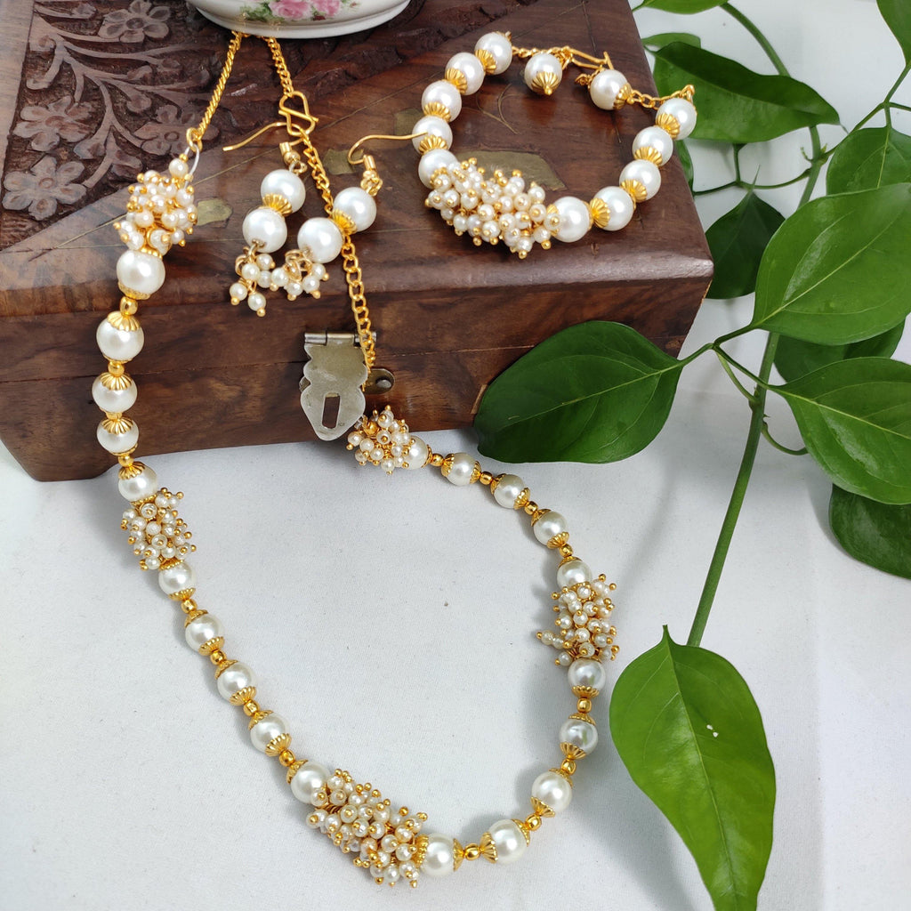Classic White Beaded Necklace set NKC323 | Sunu's Fashions