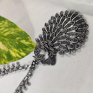 Intricate Peacock Pendant Oxidised Chain NKC324 | Sunu's Fashions